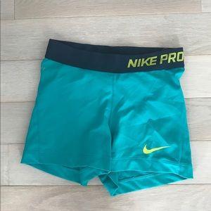 Nike Pro Shorts Women's SZ X-Small Teal/Navy Blue